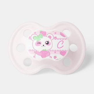 Cute Strawberry pink Kawaii Panda bear monogram Pacifiers