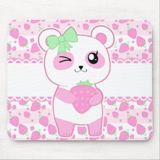 Cute Strawberry pink Kawaii Panda bear Mouse Pad