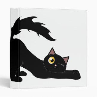 Cute Stretching Cat ~ Black Cat Cartoon Vinyl Binder