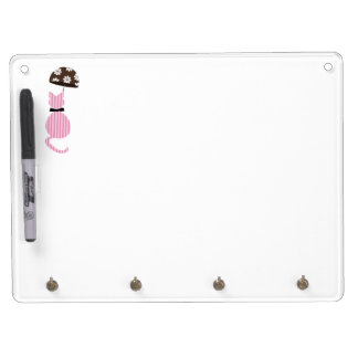 Cute Stripe Cat with Umbrella Dry Erase Board With Keychain Holder