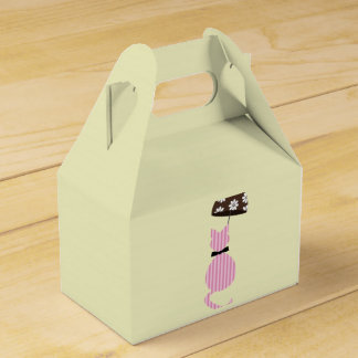 Cute Stripe Cat with Umbrella Favor Box