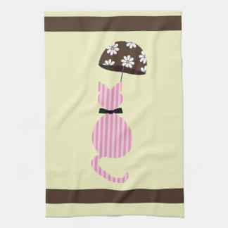 Cute Stripe Cat with Umbrella Kitchen Towel