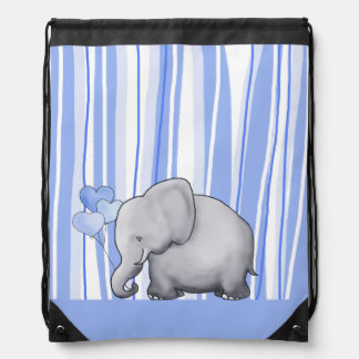 Cute Striped Elephant Baby New Parent Diaper Drawstring Bag