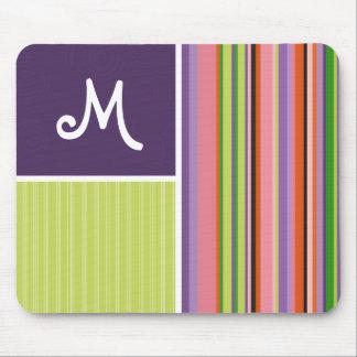Cute Stripes; Purple & Green Mouse Pad