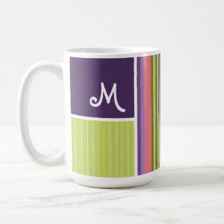 Cute Stripes; Purple & Green Coffee Mugs