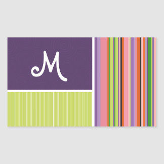 Cute Stripes; Purple & Green Sticker
