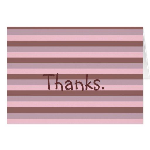 Cute Stripes Thank You Thanks Card