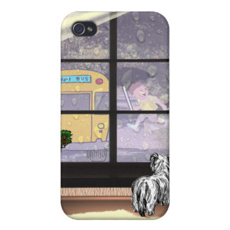 Cute Student Running To Catch School Bus iPhone 4 Cases