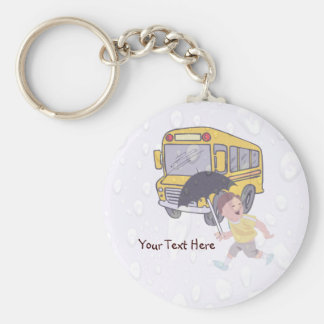 Cute Student Running To Catch School Bus Keychain