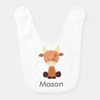 Cute Stuffed Cow Cartoon Custom Name Bib