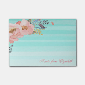 Cute Stylish Girly  Watercolor Flowers,Striped Post-it Notes
