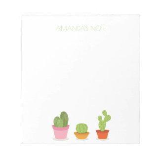 Cute succulent cactus trio notepads