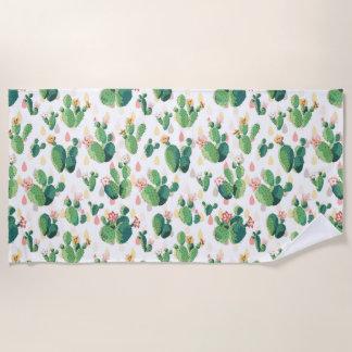Cute Succulent Lovely Cactus Beach Towel