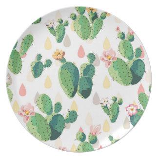 Cute Succulent Lovely Cactus Melamine Plate