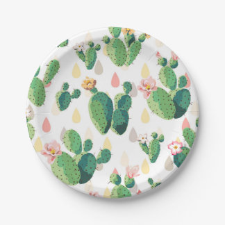 Cute Succulent Lovely Cactus Paper Plates