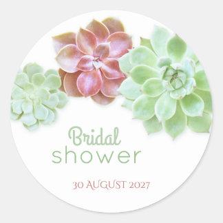 Cute Succulents Botanical Bridal Shower Round Sticker