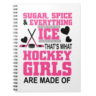 cute sugar and spice ice hockey girls notebook
