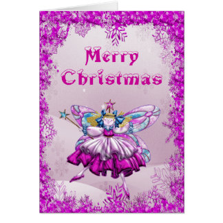 Cute Sugar Plum Fairy & Sequins Christmas Card