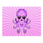 Cute Sugar Skull Zombie Octopus - Purple Postcard