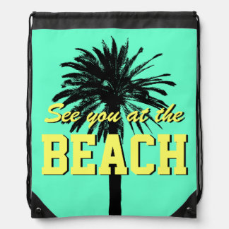 Cute summer beach bag | palm drawstring backpack