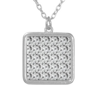 Cute Summer Daisies Pattern Square Pendant Necklace