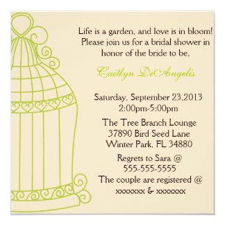 Cute Summer Garden Birdcage Bridal Shower Invite