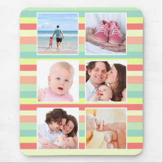 Cute Summer Stripes Photo Collage Mouse Pad