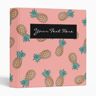 cute summer tropical faux gold pineapple pattern 3 ring binder