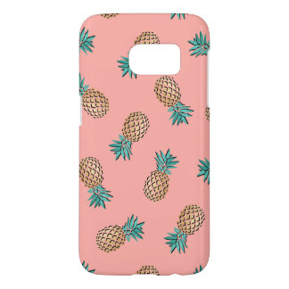 cute summer tropical faux gold pineapple pattern samsung galaxy s7 case