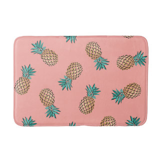 cute summer tropical gold foil pineapple pattern bath mat