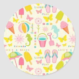 Cute Summertime Classic Round Sticker