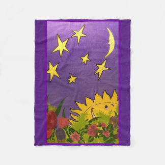 Cute Sun and Moon with Tulip Designed Fleece Blanket