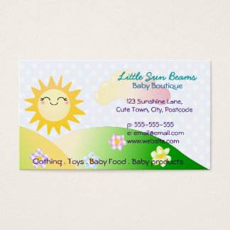 Cute sun kawaii cartoon business card