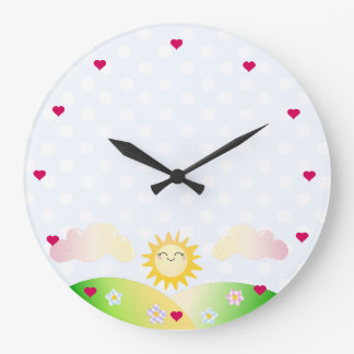 Cute sun kawaii cartoon clock