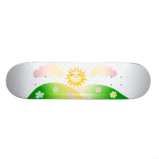 Cute sun kawaii cartoon skateboards