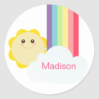 Cute Sun & Rainbow Cupcake Toppers/Stickers Classic Round Sticker