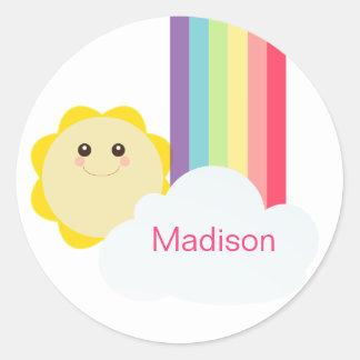 Cute Sun & Rainbow Cupcake Toppers/Stickers Round Sticker