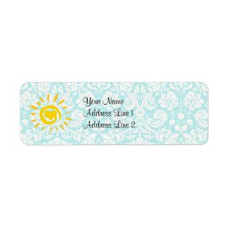 Cute Sun; Teal Damask Return Address Label