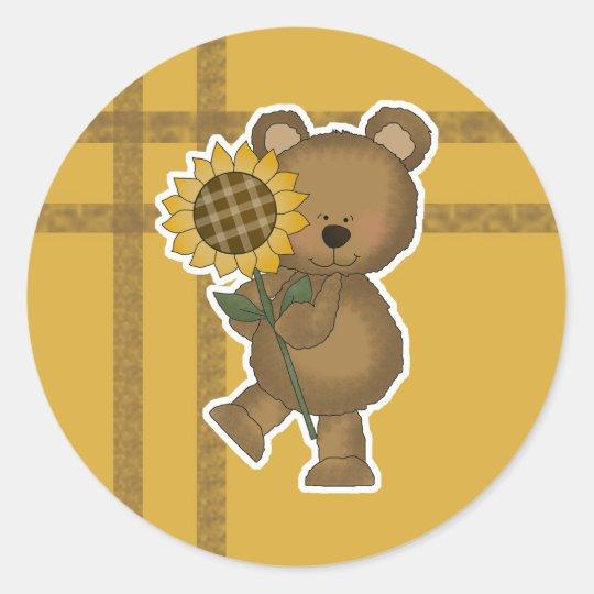 Cute Sunflower Teddy Bear Classic Round Sticker