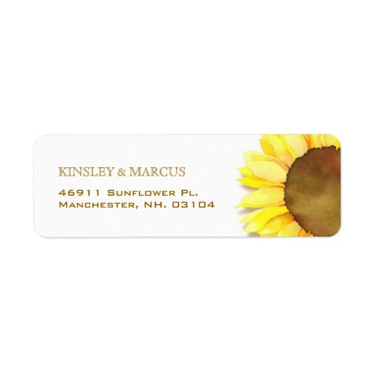 Cute, Sunny Watercolor Sunflower Address Labels