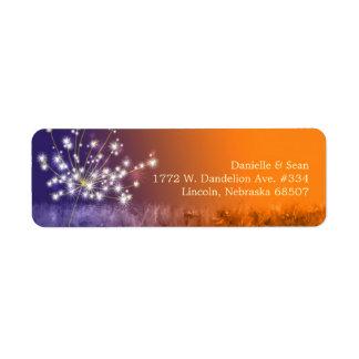 Cute Sunset Dandelion Wedding Return Address Label