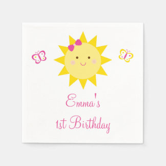 Cute Sunshine Birthday Paper Napkins