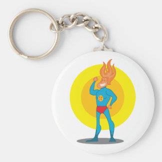 Cute super hero basic round button keychain