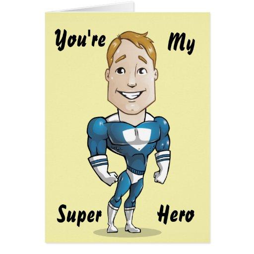 Cute Super Hero Vector Illustration Greeting Card