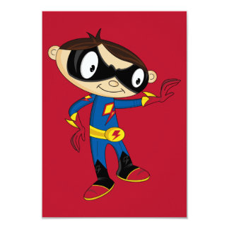 "Cute Superhero Boy 3.5"" X 5"" Invitation Card"
