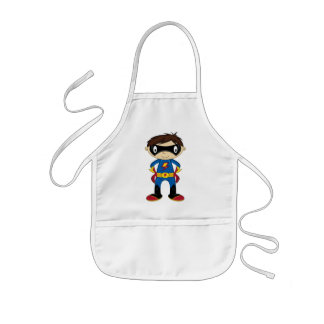 Cute Superhero Boy Kids Apron