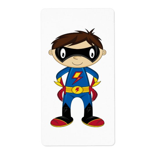 Cute Superhero Boy Shipping Label