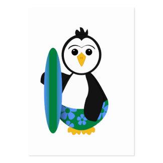 Cute Surfer Penguin Business Card Template