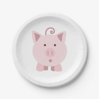 Cute Surprised Pig 7 Inch Paper Plate