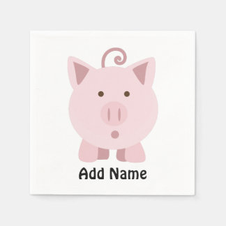 Cute Surprised Pig Napkin
